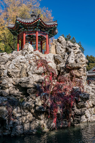 [© Cliff Shrine by Judy Hill Lovins is described with Asia, China, Beijing, Fine Art, Vertical, Color, Brown, Red, Yellow, Warm hit 3439 rate ]
