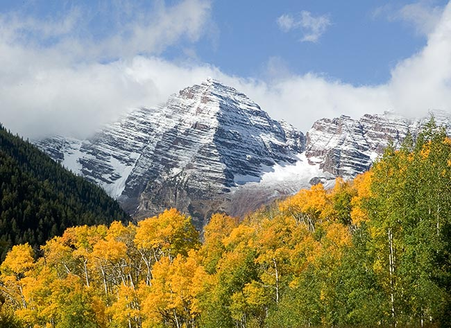 [© Maroon Bells in Fall by Judith A. Hill is described with Yellows, Green, White, Blue, Blue sky, Air, Alpine, Aspens, Evergreen, Forest, Pine, Pines, Rocky, Tree, Trees, Woods, Colorado, Elk Range, Maroon Bells, Rockys, Rocky Mountains, Stock, Color, Horizontal, Gold, Orange, Maroon Bells-Snowmass Wilderness, Rocky Mountain, Mountain, Mt., Mountains, 2005, Fall, Cool, Warm, Fine Art hit 11645 rate ]