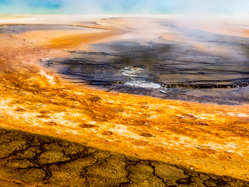 [© Sulfur Pond by Amory B. Lovins is described with Fine Art, Horizontal, Color, Warm, Yellowstone, Pool, Pond, Hot Springs, Abstract, National Park, orange, brown, blue, Rocky Mountains hit 1050 rate ]