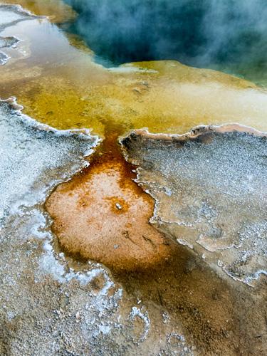 [© Hot Springs Abstract by Amory B. Lovins is described with Fine Art, Vertical, Color, Warm, Cool, Yellowstone, Pool, Pond, Hot Springs, Reflection, Abstract, National Park, yellow, orange, blue, grey, Rocky Mountains hit 2661 rate ]