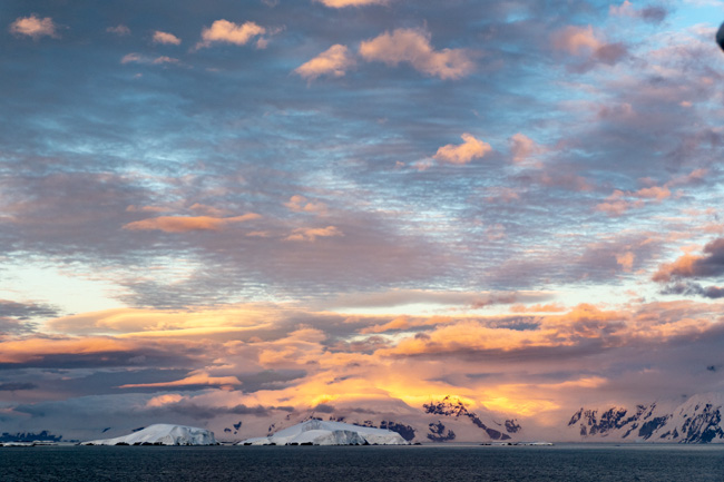 [© Antactica Sunset  by Amory B. Lovins is described with Fine Art, Color, Horizontal, International, Antarctica, Sunset, Sunrise, Blue, Gray, Orange, remix hit 337 rate ]