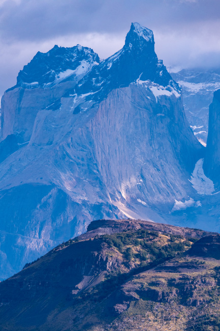 [© Torres del Paine Peaks by Amory B. Lovins is described with Color, Vertical, International, Torres del Paine, Chile, Mountain, Blue, Fine Art, remix, Vertical hit 772 rate ]