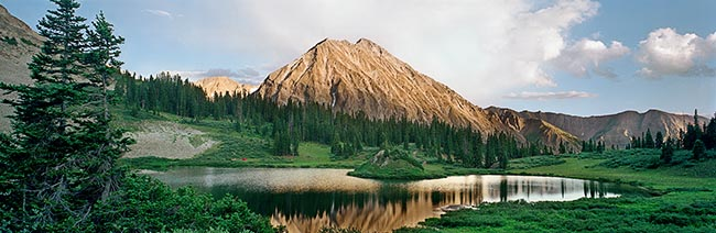[© Copper Lake Dawn by Judy Hill is described with Stock, Color, Cool, Warm, Mountain, Water, Woods, Horizontal, Panorama, Spring, Summer, Beige, Blue, Brown, golden, Gold, Green, White, Copper Lake, Colorado, East Maroon Pass, Elk Range, Gunnison National Forest, Maroon Bells-Snowmass Wilderness, Rocky Mountain, Rockys, Air, Blue sky, Clouds, Lake, Mt., Tree, Reflections, Mountains, Evergreen, Pines, Pine, Fine Art hit 11678 rate ]