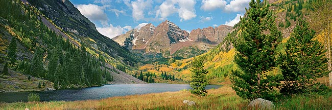 [© Fall Bells Panorama by Judy Hill is described with Stock, Color, Warm, Cool, Mountain, Water, Horizontal, Panorama, Fall, Blue, Gold, golden, Green, White, Colorado, Maroon Bells, Maroon Lake, Elk Range, Roaring Fork Valley, Rocky Mountain, White River National Forest, Maroon Bells-Snowmass Wilderness, Air, Blue sky, Clouds, Lake, Grass, Tree, Mt., Mountains, Fine Art hit 12044 rate ]