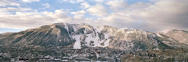 [© Aspen Mountain, 2002 by Judy Hill is described with Fine Art, Color, Neutrals, Cool, Mountain, Town, Winter, Panorama, Horizontal, White, Gray, Blue, Beige, Silver, Ajax, Aspen, Aspen Mountain, Colorado, Roaring Fork Valley, Rocky Mountain, Rockys, Ski Area, White River National Forest, Air, Blue sky, Clouds, Cloudy, Mt., Peak, sky, Snowy, Snow, City, Buildings, Historic, Old Buildings, Stock, Sunrise hit 6511 rate ]